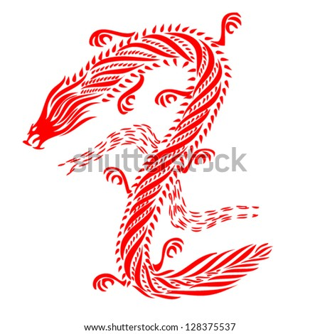 Pattern vector of traditional Chinese dragon. Red dragon isolated on white background. illustration.eps10 vector.