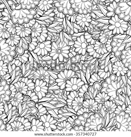 pattern with abstract flowers coloring book page for