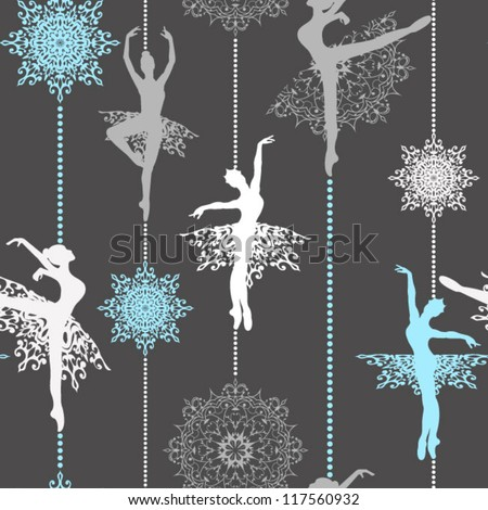 Pattern with ballerinas and snowflakes  Retro Christmas pattern Seamless christmas background - stock vector