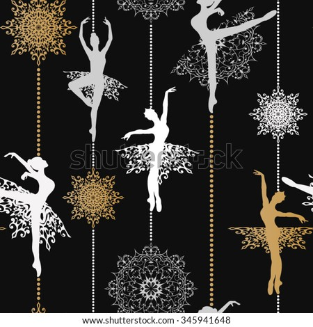 pattern with ballerinas and