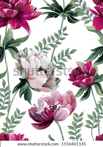 Pattern with big peony with green leaves, botanic flower.