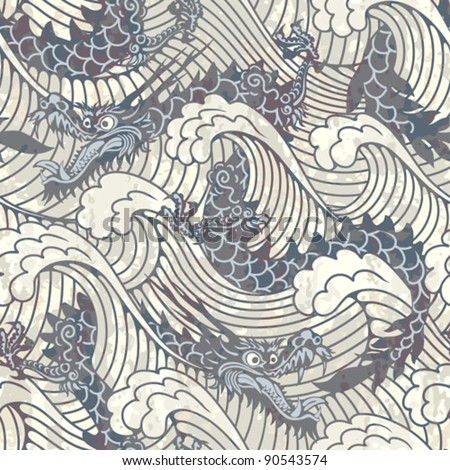 pattern with black water dragons
