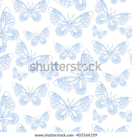 pattern with blue bird wing