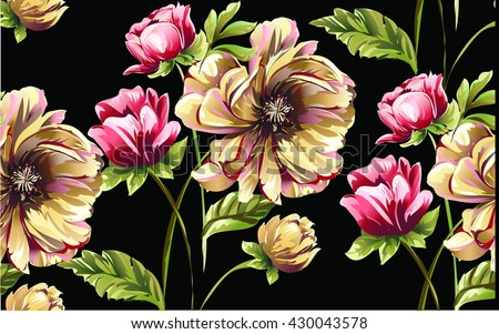 pattern with bouquet of flowers