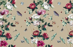 Pattern with bright different peony flowers in floral stripe with grass and leaves and bottoms and insects -ladybugs,bees, butterflies, dragonflies on beige background