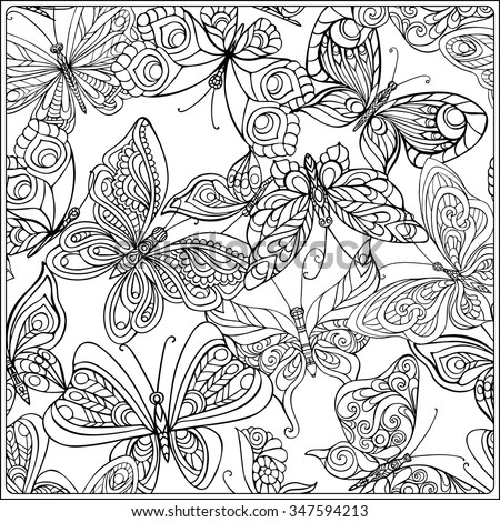 Pattern With Butterflies Coloring Book For Adult And Older Children Coloring Page Outline