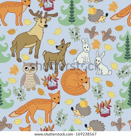 Pattern with cartoon little animals. Seamless pattern for fabric, paper and other printing and web projects. #169238567