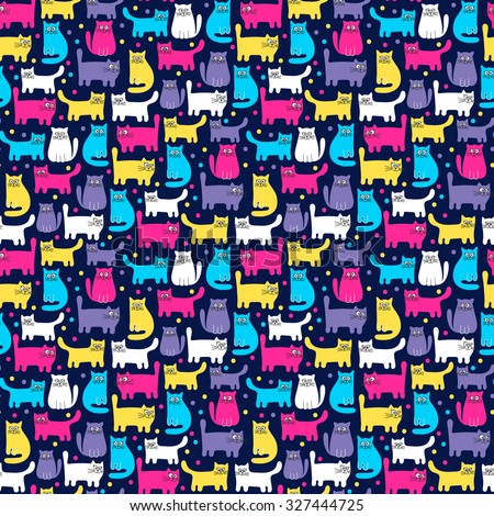 pattern with cats hand drawn