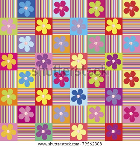 Pattern with colored flowers and stripes