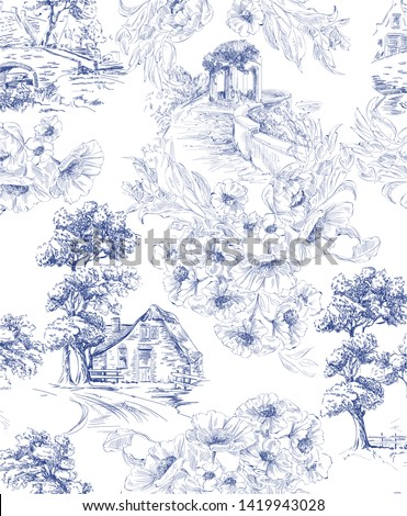 Pattern with countryside houses and arbor with flower bouquet in toile de jouy style in blue and white colour