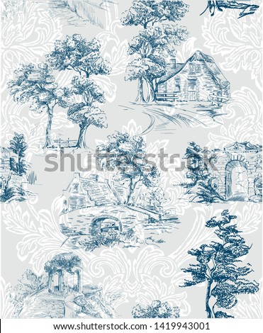 Pattern with countryside scenes with trees, bower, house in toile de jouy style in blue and grey colour