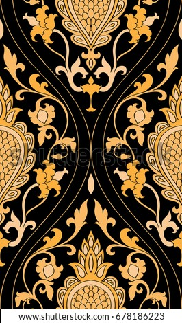 Pattern with damask. Yellow filigree ornament on a black background. Elegant template for wallpaper, textile, shawl, carpet.
