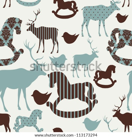 Pattern with deers and rocking horses Seamless christmas background Photo stock ©