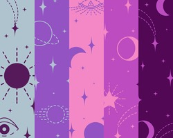 Pattern with elements, signs of esotericism, connection of celestial bodies, stars with fate of person. Background from multicolored stripes. Vector illustration for design of horoscopes, social pages