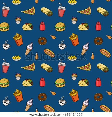 pattern with fast food hand