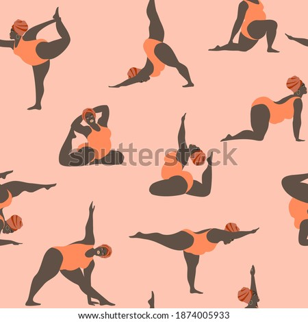 Pattern with fat African American women walking in peach swimwear. Collection of vector cartoon African women involved in sports isolated on pink background. Perfect for printing on fabric Foto stock ©