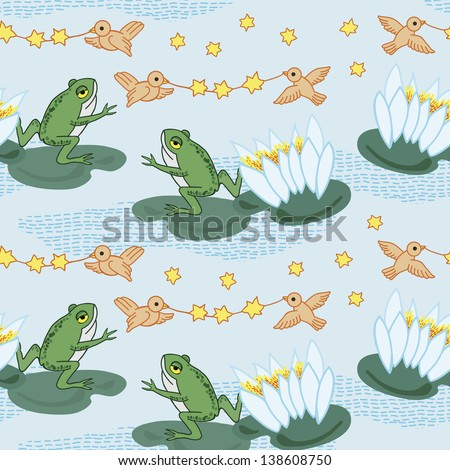 Pattern with frogs and birds