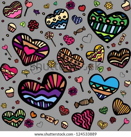 Pattern with funny hearts and candy