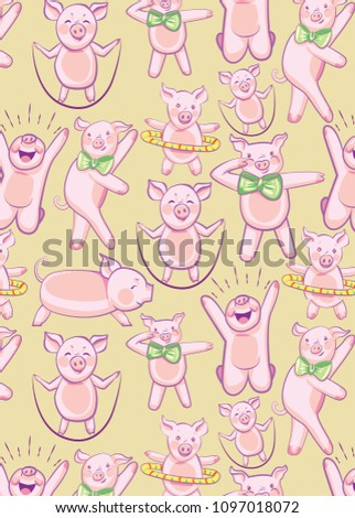 b02d0f4cb59d7 pattern with FUNNY PIGS. A set of pigs engaged in sports and dancing