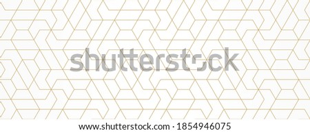 Pattern with gold lines and polygons on white background. Vector Stylish abstract geometric diamond texture for jewelry design. Seamless linear pattern for fabric, textile and wrapping. Modern swatch.