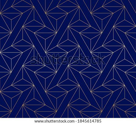 Pattern with golden lines and polygons on dark blue background. Stylish abstract geometric diamond texture. Seamless linear pattern for fabric, textile and wrapping. Modern stylish cristal swatch. Foto stock ©