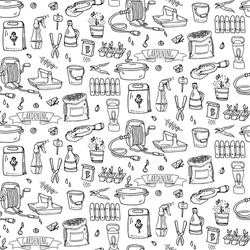 Pattern with hand drawn doodle Gardening icons set.