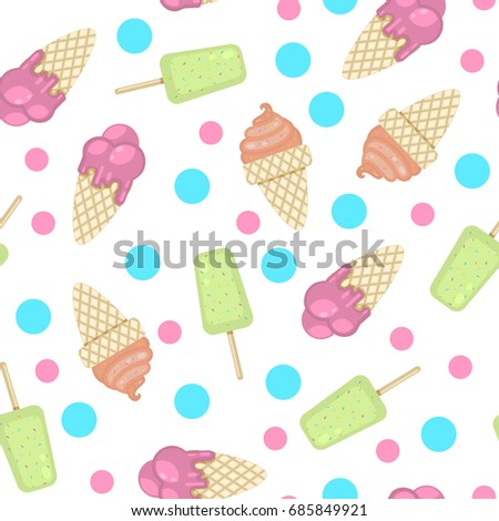 Pattern with ice cream and polka dots isolated on a white background