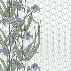 Pattern with irises. Hand-drawing illustration. Vector background with a traditional Asian ornament from of stylized waves or fan. Stylized traditional Chinese painting, Japanese art sumi-e