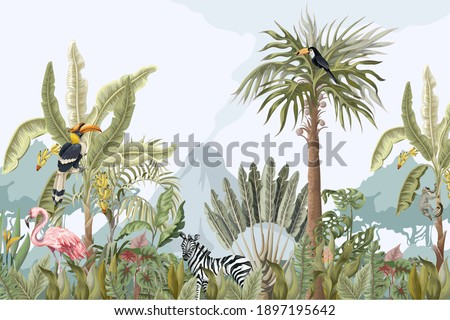 Pattern with jungle animals, flowers and trees. Vector