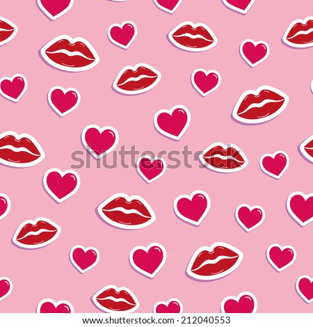 pattern with kisses and hearts