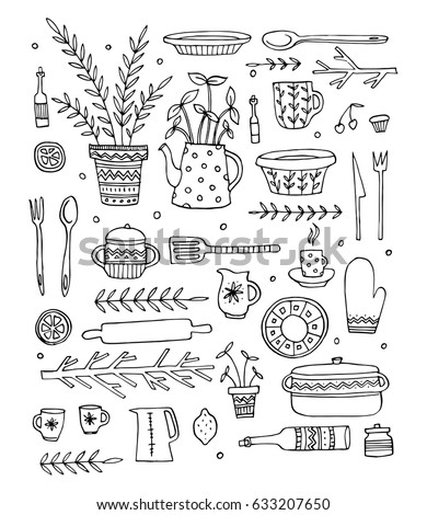 Pattern with kitchen objects. Hand-drawn vector illustration
