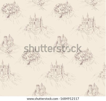 pattern with landscape with old