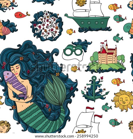pattern with little mermaid