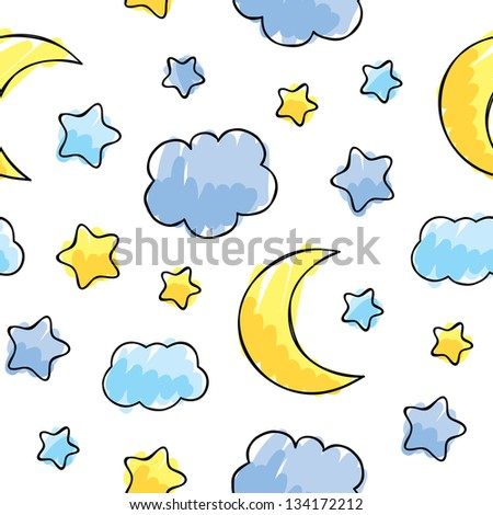 pattern with night sky elements