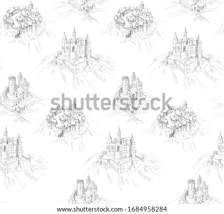 pattern with old landscape with