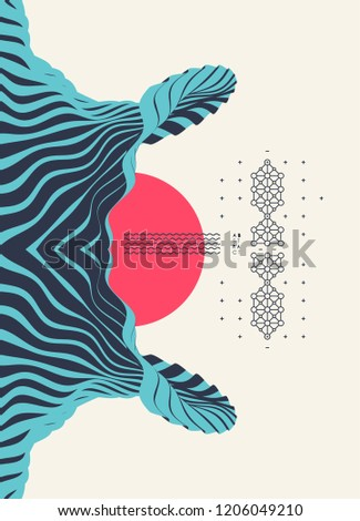 Pattern with optical illusion. Abstract 3D geometrical background. Asian vector illustration.