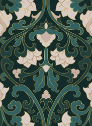 Pattern with ornamental flowers. Green floral ornament. Template for wallpaper, textile, shawl, carpet and any surface.