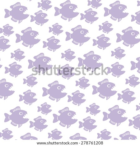 pattern with piranhas of