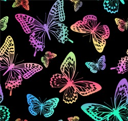 Pattern with rainbow butterflies on a black background. Suitable for curtains, wallpaper, fabrics, wrapping paper.