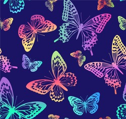Pattern with rainbow butterflies on blue background. Suitable for curtains, wallpaper, fabrics, wrapping paper.