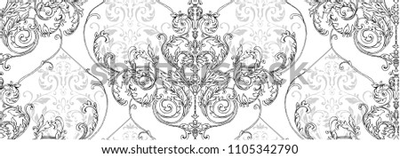 Pattern with rococo, baroque element, classic damask, swirls, scrolls on white background with small grey scrolls.