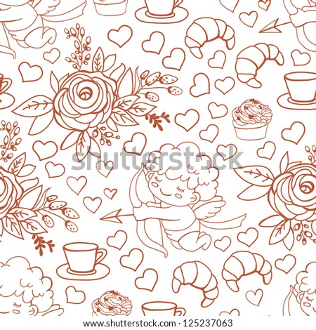 Pattern with sketches on the theme of Valentine's Day