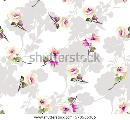 Pattern with  small spring flowers on white background with flower silhouette