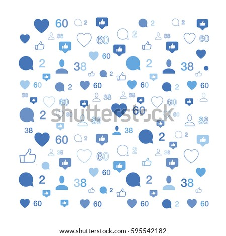 Pattern with social icons. Comments and likes. Flat vector background EPS 10