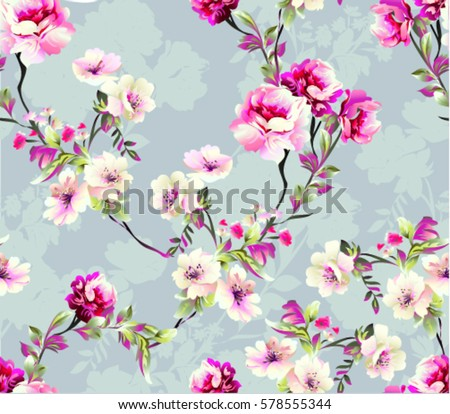 Pattern with spring flowers  with branch, on grey background with flower silhouette