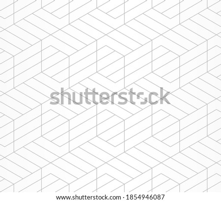 Pattern with straight grey lines and geometric shapes on white background. Seamless abstract monochrome linear texture. Hexagonal background. Linear graphic design for textile, fabric and wrapping.
