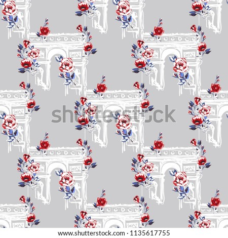 Pattern with triumphal arch with flowers. Hand drawn graphic illustration with French symbols. Vector watercolor style vintage seamless white on white background.