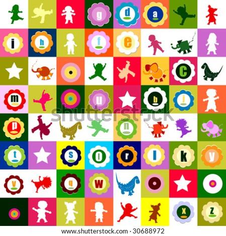pattern with various elements, for kindergarten - stock vector