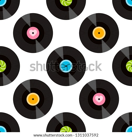 pattern with vinil records