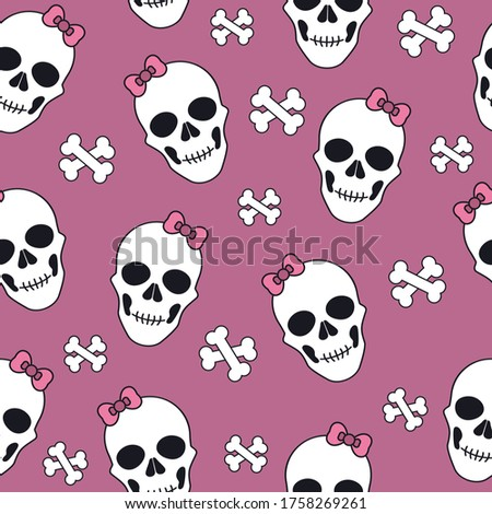 pattern with white skulls with